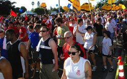 Thousands of people take part in the annual AIDS Walk & Run San Diego, designed to increase awareness about the ongoing HIV/AIDS epidemic and to raise vital funds for the agencies and programs that serve thousands of San Diegans living with HIV.