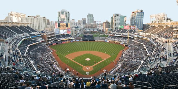 The crowd prepares for the national anthem at Petco Park before a Padres game.