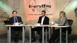 "The ""Everyday Edisons"" panel of judges, including patent attorney Chad Tillman, producer Louis Foreman, and Denise Kovac of Your Baby Can, LLC."