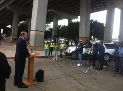 San Diego City Councilman Kevin Faulkner spoke at a news conference in suppor...