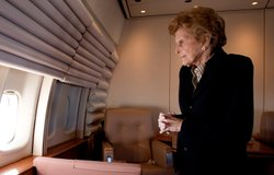 Former First Lady Betty Ford aboard the presidential jet carrying the body of President Ford en route to Washington, DC, December 30, 2006. President Ford died at his Rancho Mirage, California, home on December 26, 2006.