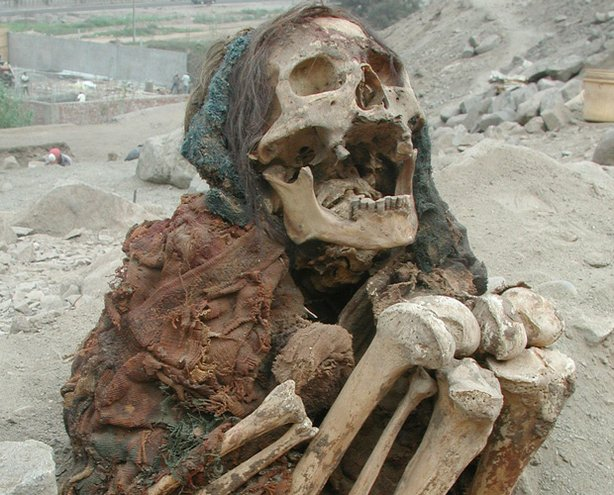 Classic Inca burial in crouched sitting position, with the dead expectantly facing the rising sun, a symbol of rebirth.
