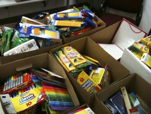 School supplies collected for homeless students in San Diego County during th...