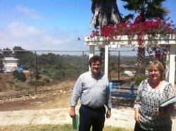 Jorge Riquelme and Janice Pezzoli stand near the edge of Tecolote Canyon, where the Bayside Community Center plans to create a new urban garden. July 21, 2011.