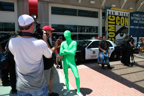 Everyone gets their 15 minutes of fame at Comic-Con, especially if you're covered in lime green head-to-toe tights.