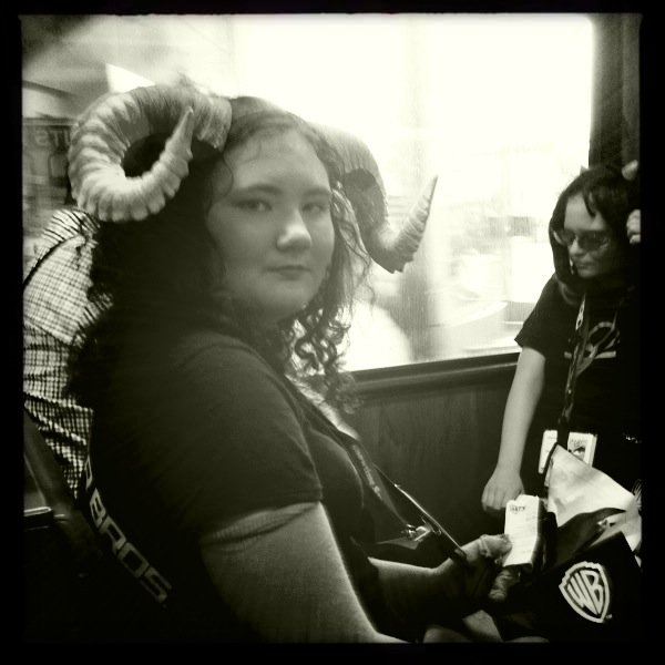 On the trolley heading to Comic-Con, 2011.