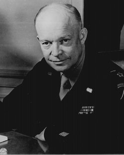 General Dwight D. Eisenhower, Supreme Allied Commander, at his headquarters in the European theater of operations. He wears the five-star cluster of the newly-created rank of General of the Army. T4c. Messerlin, February 1, 1945.