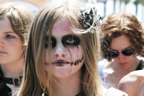 A zombie bride waits in line to get her pass for Comic-Con, International.