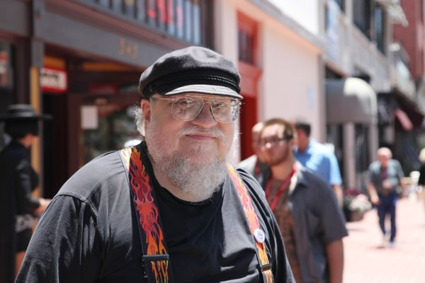 Fantasy author George R.R. Martin walking in downtown San Diego during Comic-Con.