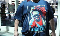 As always, I saw multiple Big Lebowski t-shirts. The Dude abides via Obama Hope graphic.