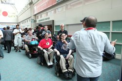 A line at disabled services waiting for registration confirmation.