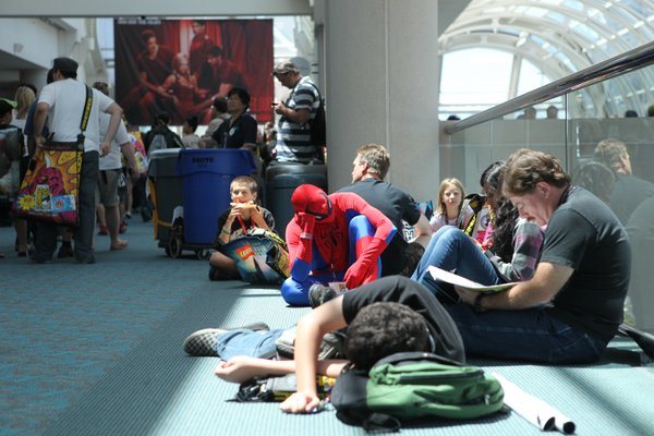 Spidey is looking pretty tired. You can find people napping along the edges of Comic-Con all the time.