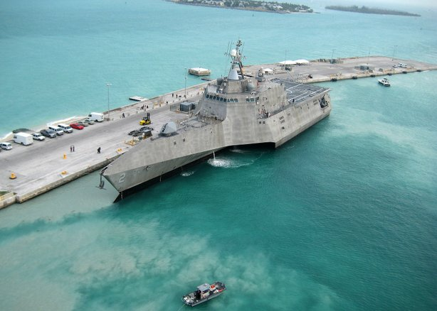 The Navy's newest littoral combat ship USS Independence on the way to Norfolk...