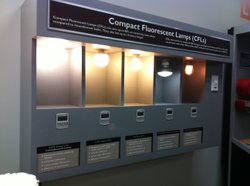 Display at the California Center for Sustainable Energy shows different types of compact fluorescent lightbulbs (cfls)