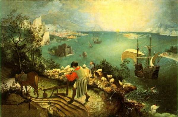 "Pieter Bruegel's ""Landscape with the Fall of Icarus"" inspired a scene in ""The Man Who Fell to Earth,"" and the painting also appears in the film."
