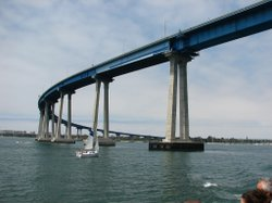 The Coronado Bridge connects Coronado Island to San Diego.