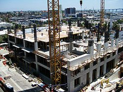 The new central library under construction in downtown San Diego.