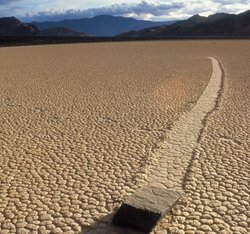 A desert mystery: what is causing this rock in Death Valley to move apparentl...