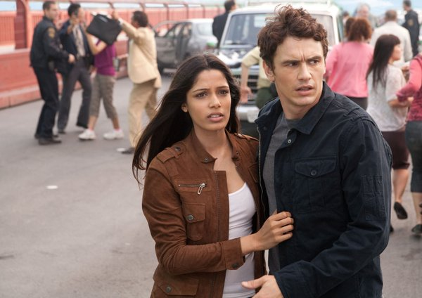 "Frieda Pinto and James Franco are the humans in ""Rise of the Planet of the Apes."""