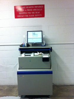 A fingerprinting machine used by San Diego County's downtown jail to share bi...