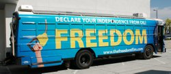 The Freedom Bus, powered by sustainable energy, is touring the country to inc...