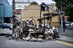 Burnt bus in London