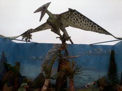 Pranksters constructed a bronze statue in Cardiff with a pterodactyl about to...