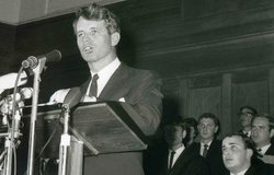 "Robert Kennedy delivers his famous ""Day of Affirmation"" speech at the University of Cape Town."