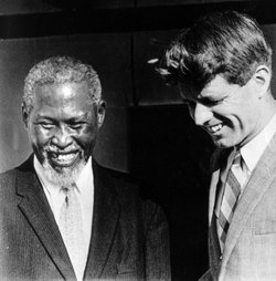 Robert Kennedy with Chief Albert Luthuli, 1966.