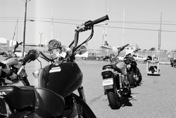 Motorcycles are lined up for students at a MSF RiderCourse in San Diego.