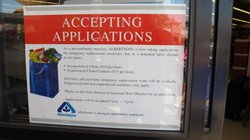 Sign On Door Of Albertson's Store in Santee.  The Signs Are Up At All Alberston's Stores in Southern California.