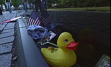 A rubber duck left at the Vietnam Veterans Memorial.