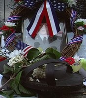 "A ""shrine"" erected on the site of the Vietnam Veterans Memorial."