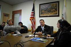 Acting Warden Greg Lewis fields reporters' questions about Pelican Bay State ...
