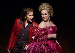 "Joyce DiDonato as Isolier and Diana Damrau as Countess Adele in Rossini's ""Le Comte Ory."""