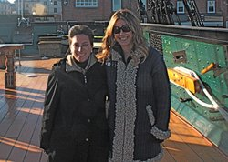 HISTORY DETECTIVES host Elyse Luray and historian Margherita Desy aboard the USS Constitution docked in Boston Harbor. In the 1830s a vandal chopped off the sculpted head of President Andrew Jackson that had been affixed to the bow of the USS Constitution.