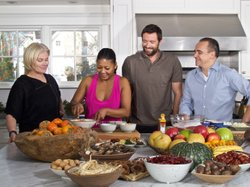 "Deborra-Lee Furness, host Marja Vongerichten, actor Hugh Jackman and chef Jean-Georges Vongerichten re-create some of their favorite recipes in a country kitchen in Westchester, New York for ""Kimchi Chronicles."""