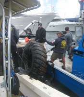 A tire pulled from the bottom of San Diego by Operation Clean Sweep volunteers in 2010.