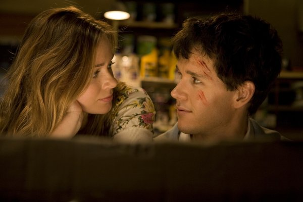 "Maeve Dermody and Ryan Kwanten star as an unlikely couple in ""Griff the Invisible."""