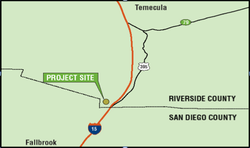 The site of the proposed Liberty Quarry would be located north of San Diego, ...