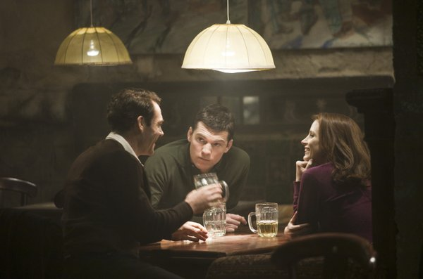 """Marton Csokas, Sam Worthington and Jessica Chastain as the young Mossad agents in """"The Debt."""""""