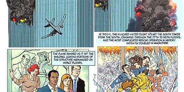 "A panel from ""The 9/11 Report: A Graphic Adaptation."""