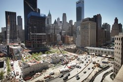 Construction continues at the World Trade Center site while New York City May...