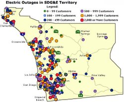 Power outages throughout San Diego County as of 9 p.m. Thursday.