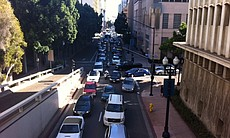 Traffic on 1st Ave. in downtown San Diego right after the blackout at about 4 p.m. on Sept. 8, 2011.