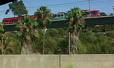 Trolley service was stopped when the power went out on Sept. 8, 2011. Here, a trolley near San Diego State University is stopped on the tracks.