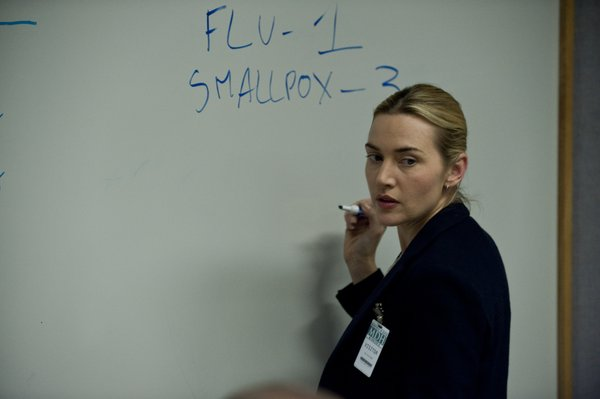 "Kate Winslet as a doctor in the field trying to find ground zero of an epidemic in ""Contagion."""