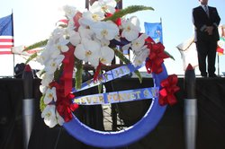 A wreath laying ceremony took place aboard the USS Midway to honor first responders who were killed on 9/11.