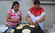 Fresh tortillas being served at Balboa Park for Viva Mexico!, celebration of Mexico's Independence.