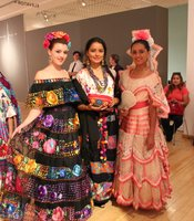 From left to right. Samantha Truong, dressed in a typical dress from Chiapas. Twins, Melissa and Justine Miranda also model dresses from different regions in Mexico.
